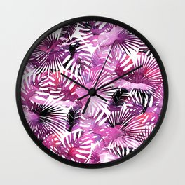 Modern pink purple watercolor tropical palm monster leaves Wall Clock