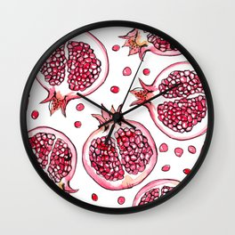 Pomegranate watercolor and ink pattern Wall Clock