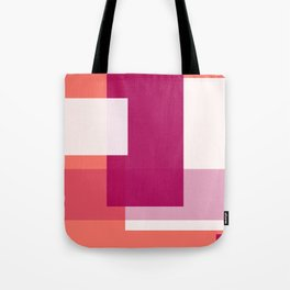 Living Coral + Raspberry   Pacifica Color Block Tote Bag