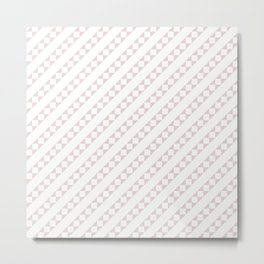 Soft Alice Pink and White Candy Cane Checker Square Stripe Metal Print