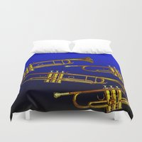 trumpet Duvet Covers featuring Blue trumpet by Becky Betancourt