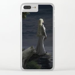 A girl and her white wolf in the moonlight Clear iPhone Case