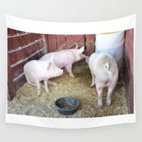 pig Wall Tapestries featuring Pig by lanjee