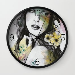 Shame On You (flowers tattoo nude lady portrait) Wall Clock
