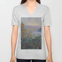 Flower Beds at Vetheuil by Claude Monet Unisex V-Neck