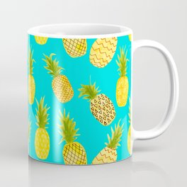Pineapple Doodles On Aqua Coffee Mug