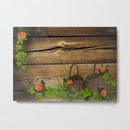 Vintage Shabby Chic Flowers In Rustic Basket Metal Print