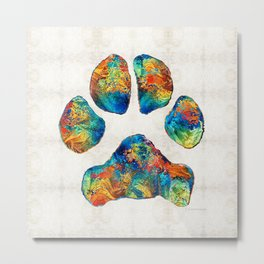 Colorful Dog Paw Print by Sharon Cummings Metal Print
