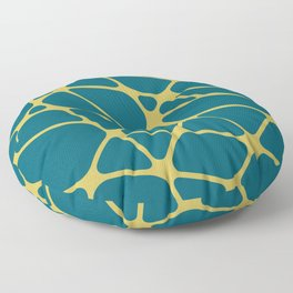 Dark Yellow Abstract Mosaic Pattern 2 on Tropical Dark Teal Inspired by Sherwin Williams 2020 Trending Color Oceanside SW6496 Floor Pillow