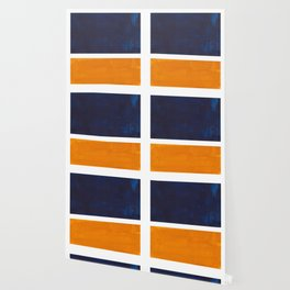 Navy Blue Yellow Ochre Abstract Minimalist Rothko Colorful Mid Century Color Block Pattern Wallpaper