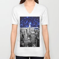 new york city V-neck T-shirts featuring new york city. Blue Stars by 2sweet4words Designs