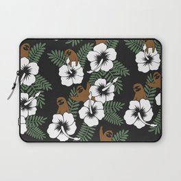 Sloth and Hibiscus Flowers Laptop Sleeve