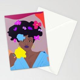 Melanin flower goddess Stationery Cards