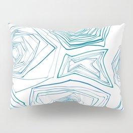 Dancing Blue Lines_White Pillow Sham