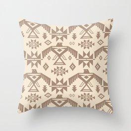 Southwestern Thunderbird Kilim in Ecru + Taupe Throw Pillow