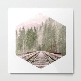 Geometric railroad and trees illustration Metal Print