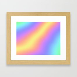 Colorful Gradient Abstract Rainbow Pattern Holographic Foil Framed Art Print