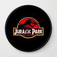jurassic park Wall Clocks featuring Jurassic Park by MrWhite