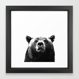 Black and white bear portrait Framed Art Print