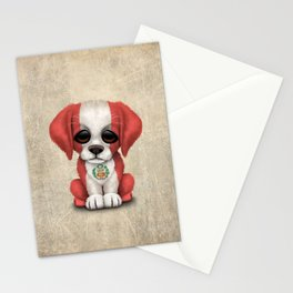 Cute Puppy Dog with flag of Peru Stationery Cards