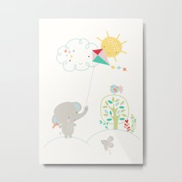 Elly + Milly Flying a Kite Metal Print