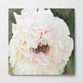 White Peony Watercolor Botanical Art Metal Print