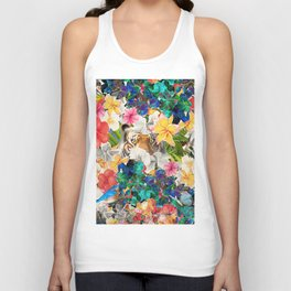 tiger and colorful flowers Unisex Tank Top