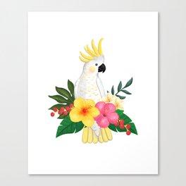 Tropical Cockatoo Floral Watercolor Canvas Print