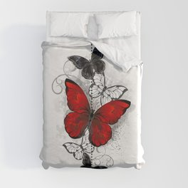 Red and Black Butterflies Duvet Cover