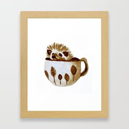 Hedgehog in a Cup Painted with Coffee Framed Art Print