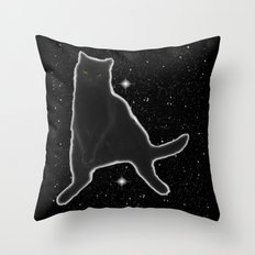 Kiki Kitty Cat in Outer Space Throw Pillow