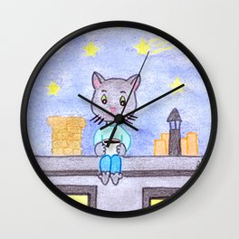 Coffe cat on a roof Wall Clock
