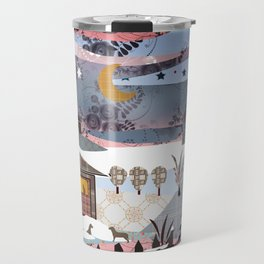 Digital illustration of Winter evening . Quilting. Patchwork . Travel Mug