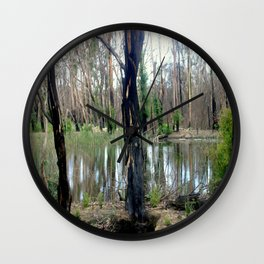 Reflecting after a bush Fire Wall Clock