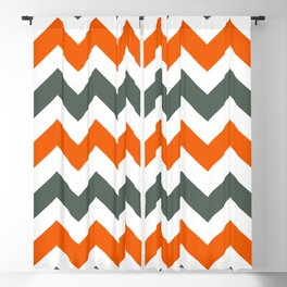 Chevron Pattern In Russet Orange Grey and White Blackout Curtain
