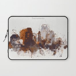 Brown Sacramento watercolor skyline Laptop Sleeve