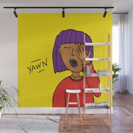 Yawning woman with purple hair Wall Mural