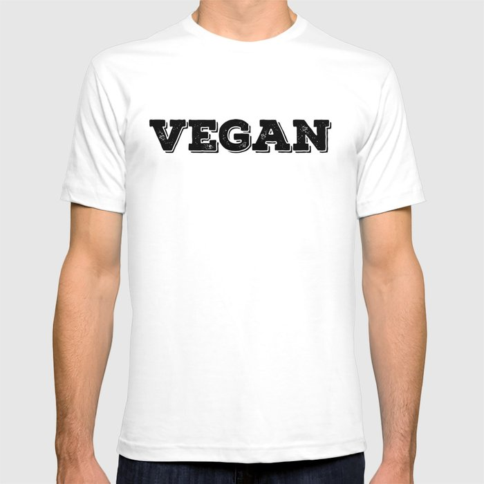 Vegan stamp black letters T-shirt