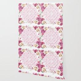 Mandala Rose Garden Pink on White Wallpaper