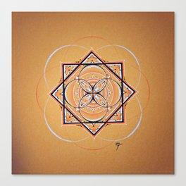 Orange Seed Mandala Canvas Print