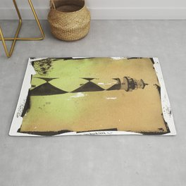 Cape Lookout lighthouse w/ faux photo border- Outer Banks, North Carolina Rug