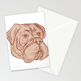 Bullmastiff Head Etching Color Stationery Cards