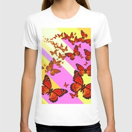 Sun Light Beams Butterflies Migrating Pink-yellow T-shirt