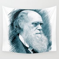 darwin Wall Tapestries featuring Charles Darwin by Zandonai