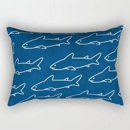 Navy Shark Under the Sea Rectangular Pillow