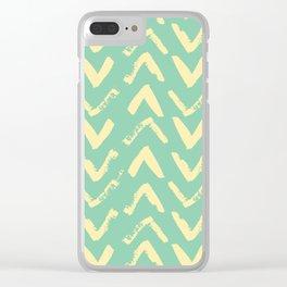 Modern Brush Stroke Chevrons - Green & Yellow Clear iPhone Case