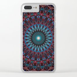 Glowing blue and red mandala Clear iPhone Case