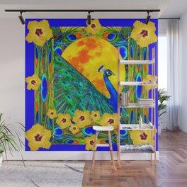 YELLOW HIBISCUS FULL GOLDEN MOON  BLUE PEACOCKS Wall Mural