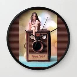 Smile for the Camera - vintage Kodak Brownie camera with miniature girl. Wall Clock