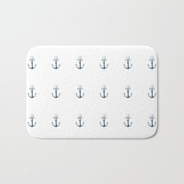 Nautical Marine Anchor Retro Seamless Pattern Bath Mat